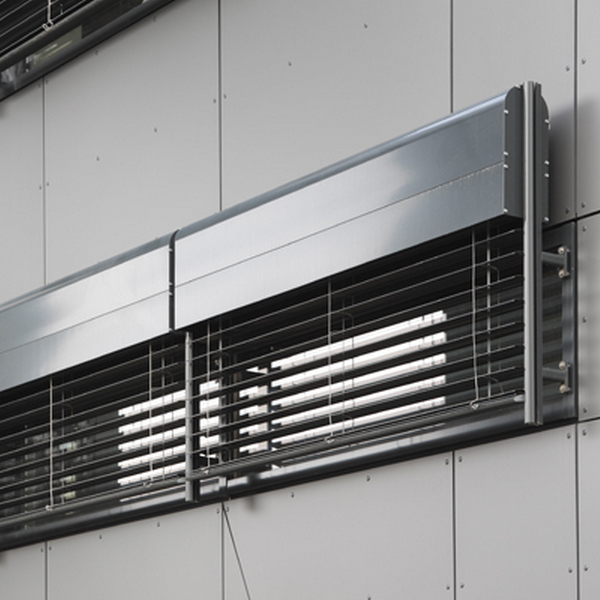 modern looking metal venetian blinds on small windows