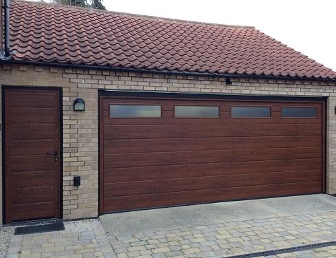 ... Classic Style Brown Garage Doors With Wooden Design Wide Garage With  Windows Side Door ...