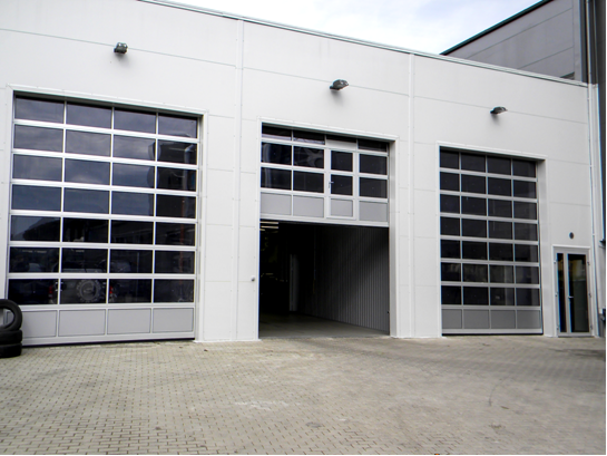 Industrial sectional doors fully glazed