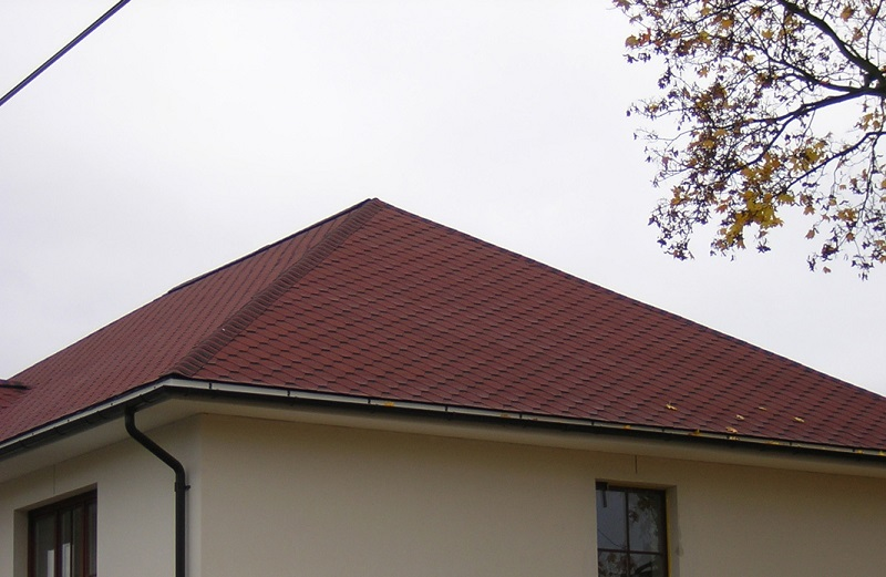 red colored iko roof shingles