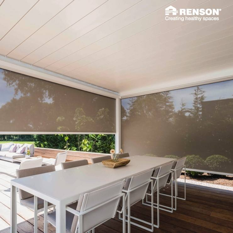 ripo cream white renson pergola with fabric side walls order