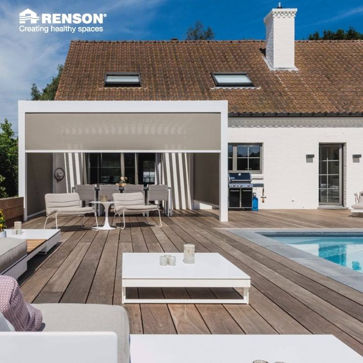 private house big white villa summer terrace pool renson pergola white algarve