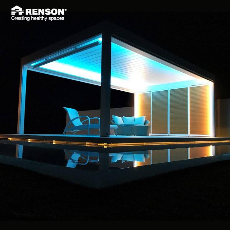 night dark black neon light pergola white yellow