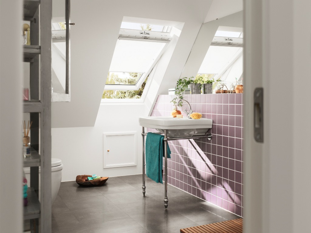 mansard room bathroom white big roof windows pink tiles