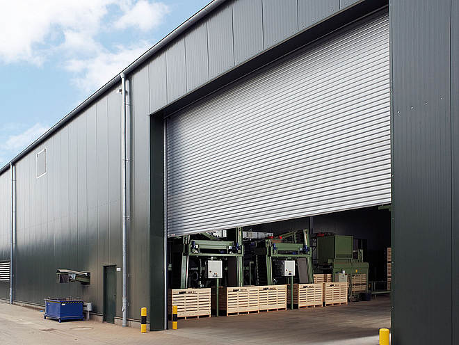 Big silver roller doors for warehouse роллеты Thermotec